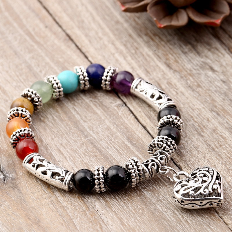 New Women 8mm Bracelets Bangles 7 Chakra Healing Balance Beads Heart Charm Bracelet For Female Reiki Prayer Stones Jewelry