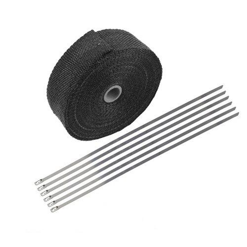 "5 Ties Kit Black 2/"" 50Ft Roll Fiberglass Exhaust Header Pipe Heat Wrap Tape"