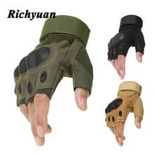 Открытый мотоцикл с твердыми костяшками перчатки без пальцев мотоцикл мотокросса военные, армейские, охотничьи велосипедные перчатки без пальцев Защитные
