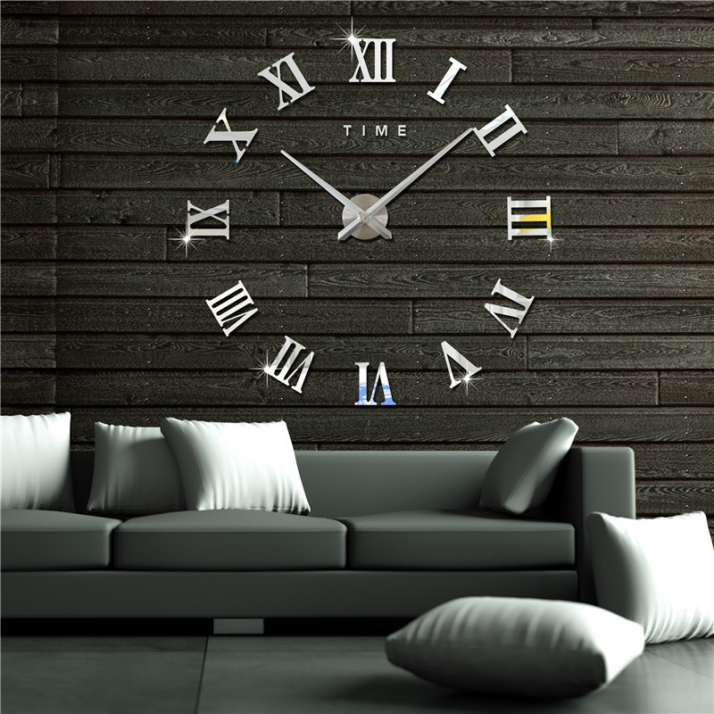 3D wallpaper clocks Roman alphabet DIY wall clock acrylic wall stickers creative living room home decoration self-adhesive bell цены онлайн