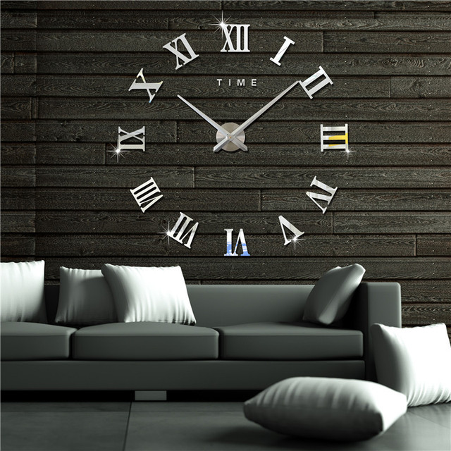 3D Wallpaper Clocks Roman Alphabet DIY Wall Clock Acrylic Stickers Creative Living Room Home Decoration