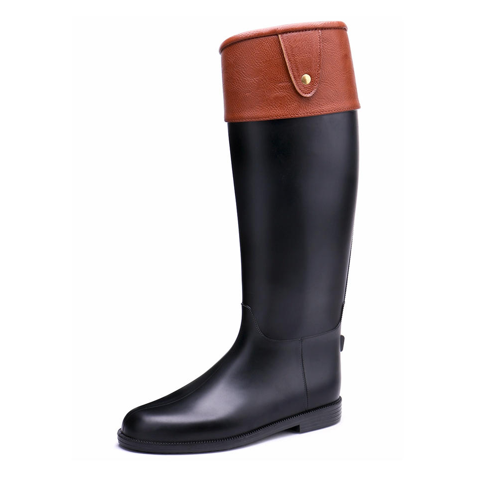 TONGPU Womens Riding Boots Zipper Closure Motorcycle Boots Classic Design Waterproof PVC Rain Boots 14-120