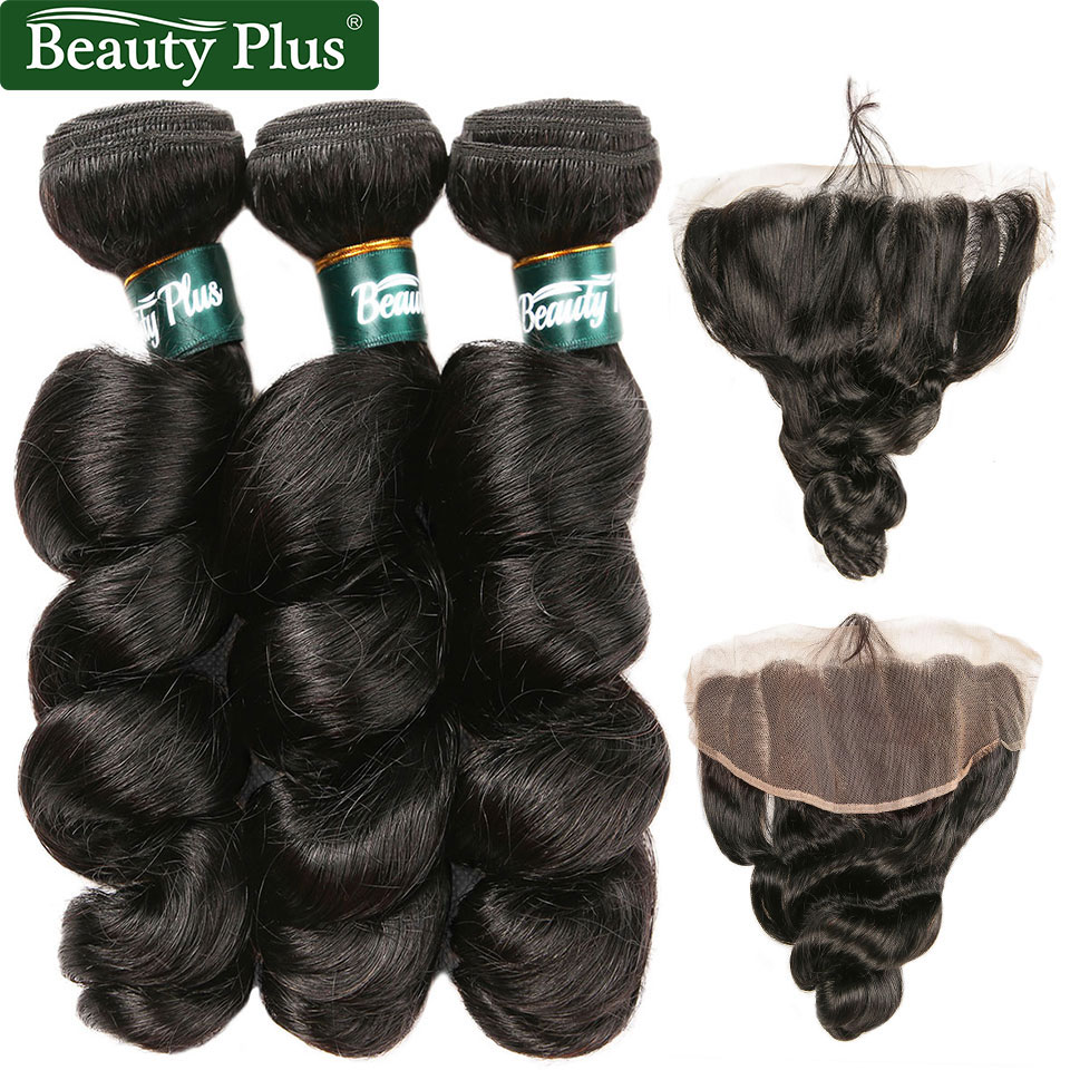 Malaysian Loose Wave Bundles With Frontal Beauty Plus Nonremy Human Hair Spiral Curl Pre Plucked Ear To Ear Frontal With Bundles