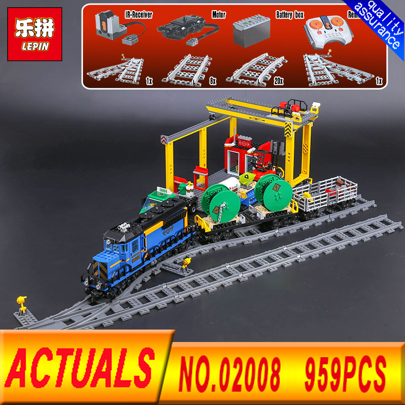 Lepin 02008 959Pcs City Series The Cargo Train Set  60052 Model RC Building Blocks Bricks Toys for Children Gifts lepin 02008 the cargo train 959pcs city series legoingly 60052 plate sets building nano blocks bricks toys for boy gift