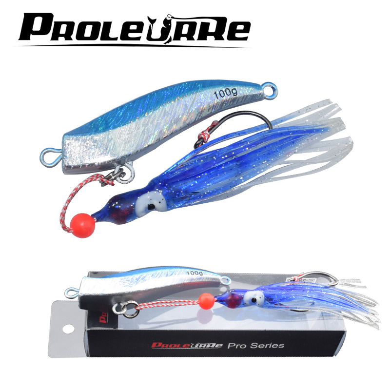 Proleurre 100g Octopus lead head Fishing Lure Artificial 2 Colors deep sea fishing Lures High quality Baits Catch big guy