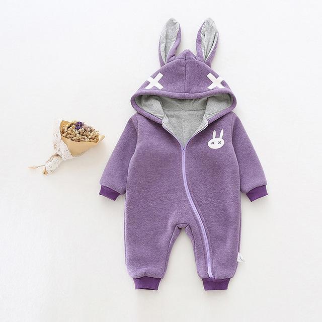 Romper do bebê das meninas dos meninos inverno velo da orelha de Coelho dos desenhos animados do traje com capuz zipper manga comprida Cruz grosso roupa roupa das crianças