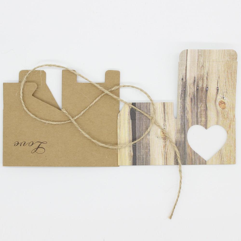 50pcs Wedding Hearts in Love Rustic Kraft Imitation Bark Candy Box ...