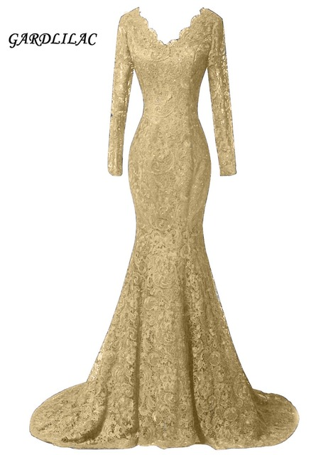 Sexy Gold Lace Evening Dresses Formal Gown Long Sleeves Evening Prom Gown  Vestido Longo Plus size Bridal Gown Beaded a4c5a8594d06