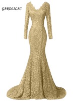 Sexy Gold Lace Evening Dresses Formal Gown Long Sleeves Evening Prom Gown Vestido Longo Plus size Bridal Gown Beaded