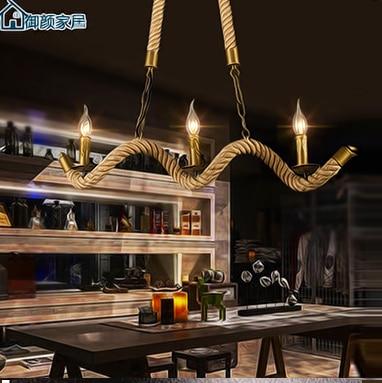 North European style Village LOFT rope wave Chandelier Restaurant Bar Cafe droplight 110-240V european rural bird marble hemp rope chandelier cafe restaurant corridor balcony chandelier size 33 38cm e27 ac110 240v