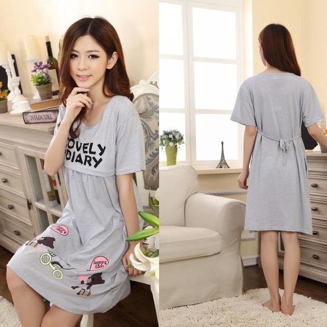 f5afde46fe7bb Maternity Nightwear Clothes For Pregnant Women 2017 Summer Cotton Nursing  Dresses Sleepwear Pregnant Clothing roupa gestante