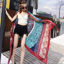 hot deal buy leayh 180*100cm large shawls women summer wraps ethnic style tassel sunscreen scarf cotton printed dual-use beach towels