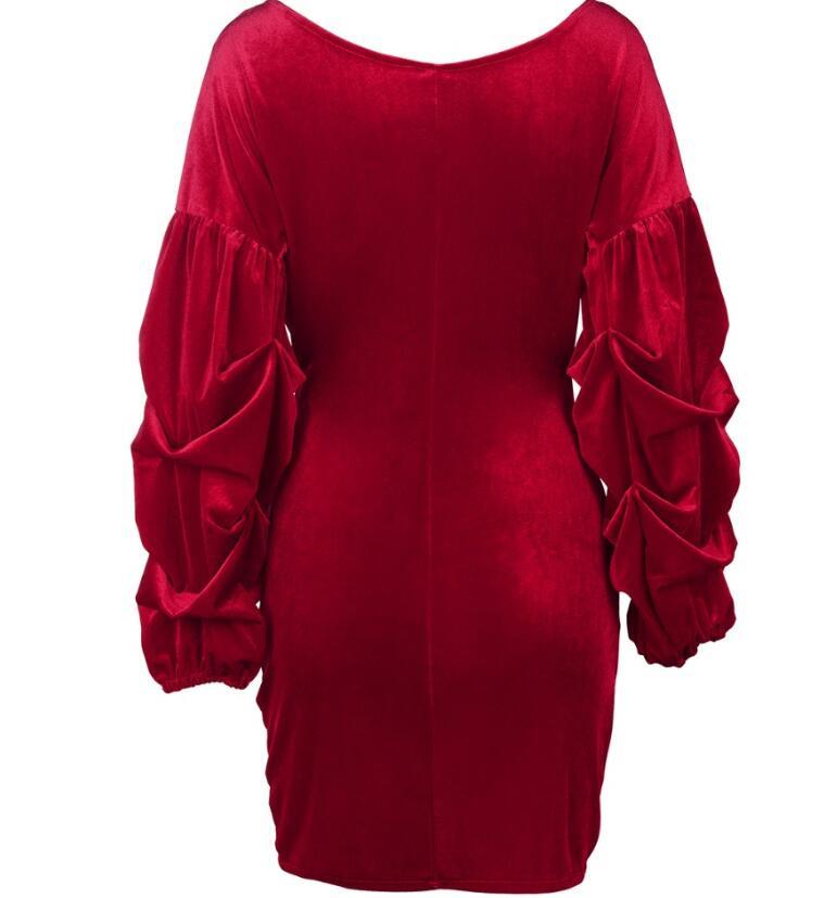 Elegant Lantern Sleeve Deep V Neck Cross Velvet Bodycon Dress 3
