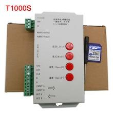 цена на T1000S 2048 Pixels DMX 512 Controller SD Card WS2801 WS2811 WS2812B LPD6803 LED Strip DC5V 12V 24V RGB full color Controller