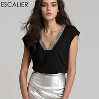 Escalier Women Solid Color V Neck Cotton T Shirts 2017 Summer Sleeveless Vest Sexy Casual Lady