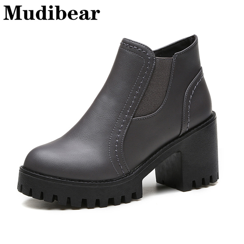 Mudibear Fashion Thick bottom Boots 2017 Winter Autumn Ladies Shoes High Heels Boot Round Toe Platform Ankle Boots For woman huizumei new genuine leather women s boots autumn and winter shoes retro handmade round toe soft bottom rubber ankle ladies boot