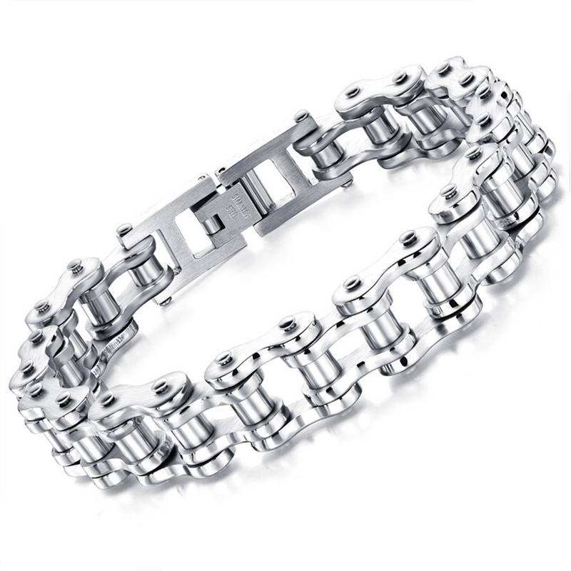 Brand New Silver Plated Stainless Steel Block Chain Bracelet Unique Design Unisex Bijoux Cool Punk Jewelry