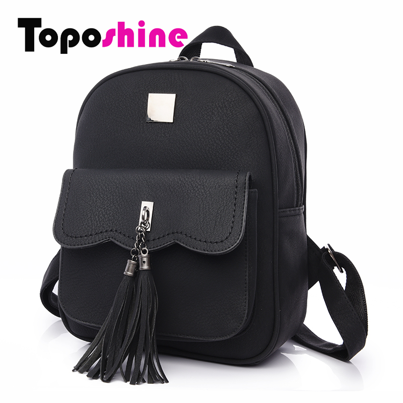 Toposhine 2016 Winter New Double Tassel Women Backpacks Fashion PU Leather Lady Backpack Quality Fashion Girls