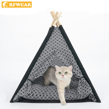 RFWCAK Pet Cat Bed House Mat Puppy Katten Mand Pitbull Perro Kennel Portable Washable Teepee With Pad Products