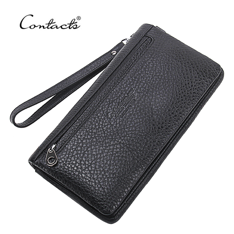 ФОТО CONTACT'S Top Quality Cowhide Leather Men's Long Wallet Clutch Brand Designer Wrist Bag Black Wallets And Purses ID Card Holder