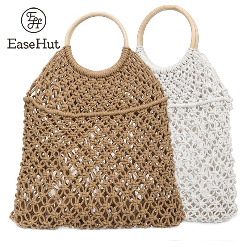 EaseHut Women Fashion Bag Straw Handmade Rattan Circle Hollow Out Bag Fishing Net Portable Summer Holiday Beach Bag Casual Bags