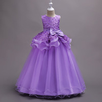 Girls Flower Bow Princess Tutu Dress Toddler Teenage Kids Girl Birthday Wedding Party Lace Dress Christmas Vestidos Ball Gown