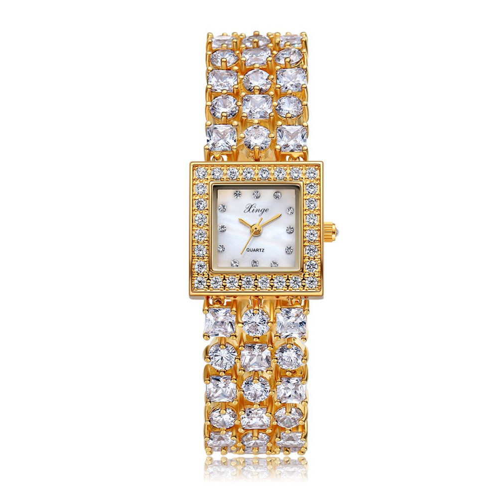 Xinge Brand Watches For Women Luxury Gold Crystal Quartz Watch Ladies Zircon Bracelet Watch Womem Dress Clock Relogio Feminino xinge top brand luxury women watches silver stainless steel dress quartz clock simple bracelet watch relogio feminino