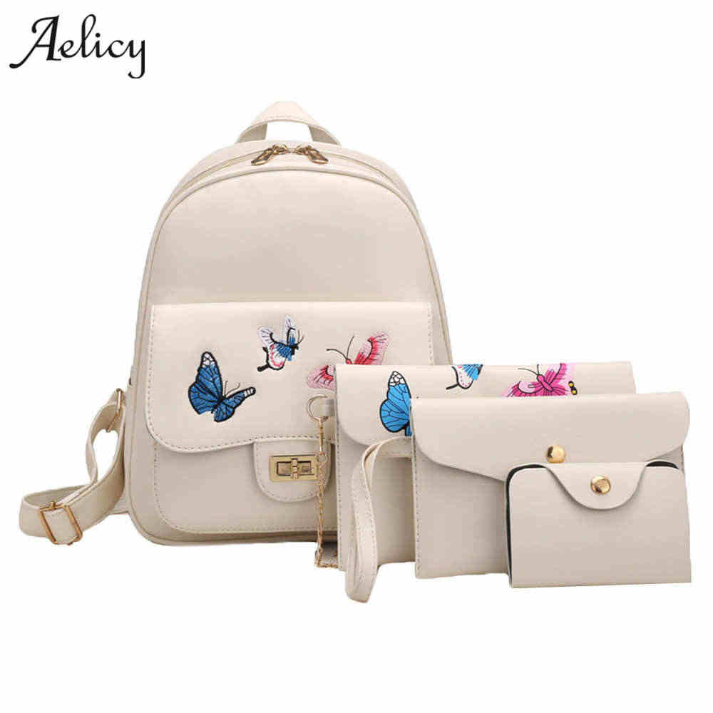 Aelicy High Quality 4pcs/Set Butterfly Embroidery Women Backpack PU Leather Teenager School Girls Bags Female Shoulder Bag Purse