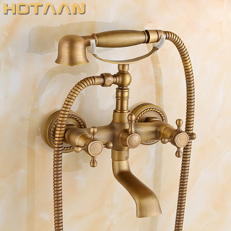 Free shipping Bathroom Bath Tub Wall Mounted Hand Held Antique Brass Shower Head Kit Shower Faucet