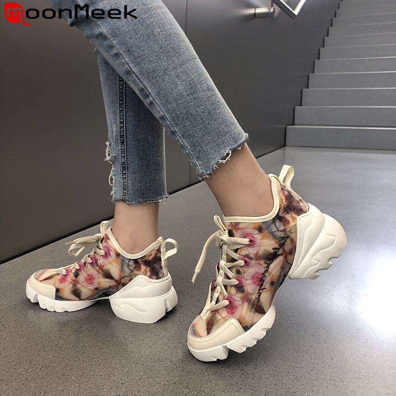 MoonMeek 2020 new sneakers shoes women round toe lace up flat platform shoes simple comfortable women flats shoes
