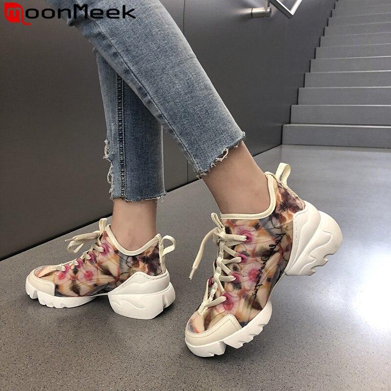 Moonmeek 2020 novas sapatilhas sapatos femininos dedo do pé redondo rendas até sapatos de plataforma plana simples confortável sapatos femininos