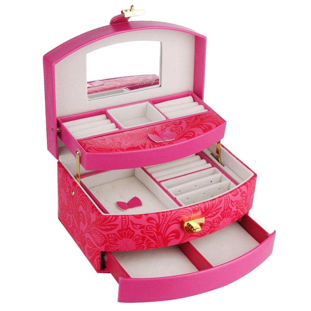 ROWLING Large Jewelry Box And Packaging Display Organizer Girls Rings Case Rose Red Flower Pattern 3