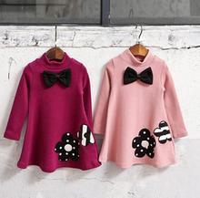 2016 Hiver Filles Robe Épaissir Filles Chaud Coton Une lettre Robe Enfants Mignon Style Confortable matériel grand Peplum avec Robe