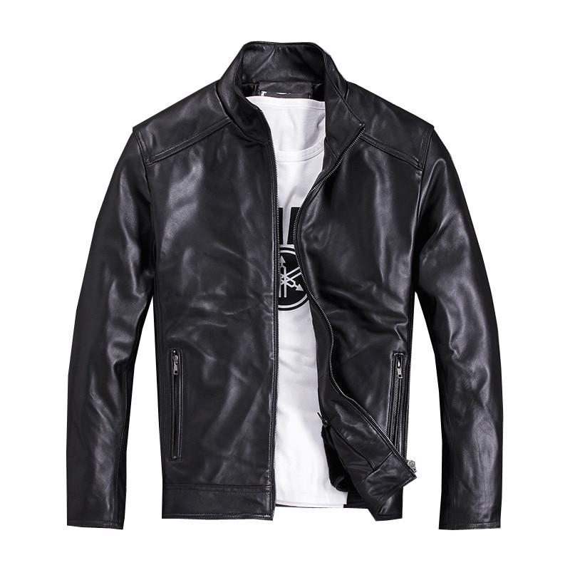 2019 Schwarz Männer Russische Casual Leder Jacke Plus Größe Xxxxxl Echtem Schaffell Winter Dicken Slim Fit Leder Mantel Freies Verschiffen