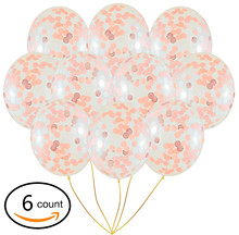 Rose Gold Confetti Balloons | 6 Pack Large 18 Foil Paper Pre-Filled Wedding Engagement Birthday Party Events
