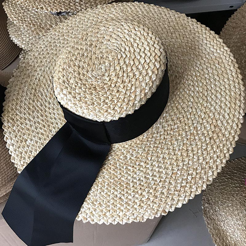 ae08ce7d4e3cc Women Flat Top Wheat Straw Hat Ribbon Sun Hats 12cm Wide Brim ...