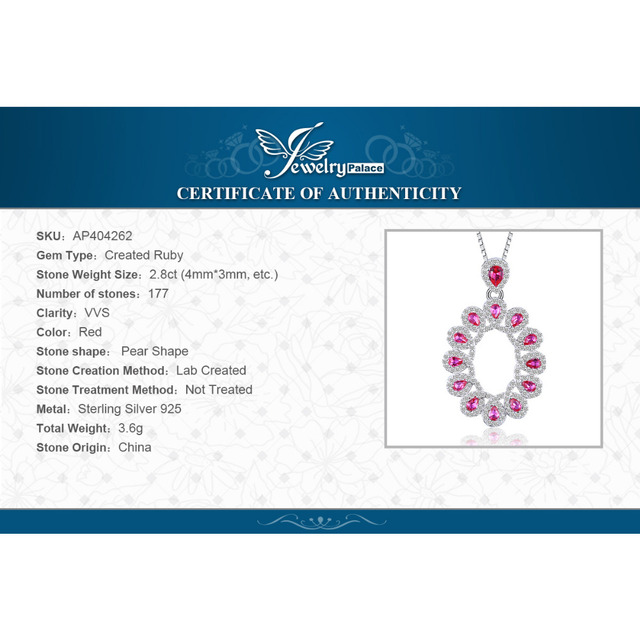 2.9ct Created Rubies Cluster Pendant  5