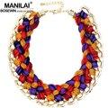 Manilai tejer lana hecho a mano de ganchillo maxi gargantillas collares chunky collar joyería de las mujeres declaración grande collar de la joyería 2016