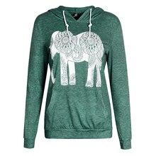 Fashion Women Hoodies Long Sleeve Print Elephant Sweatshirt Casual Basic Mujer Hoodies B6223E