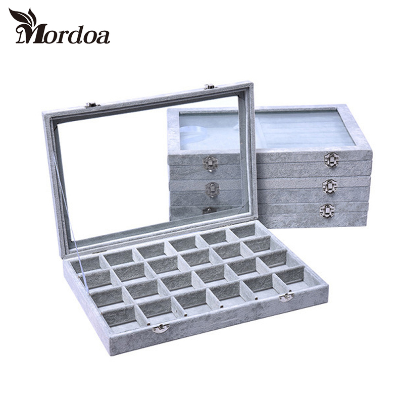 High-grade Gray Jewelry Plate Jewelry Boxes Rings Jade Necklace Pendant Earrings storage box Shelf 35*24*4.5CM free shipping high grade empty rose red jewelry boxes ring pendant bracelet necklace packing box