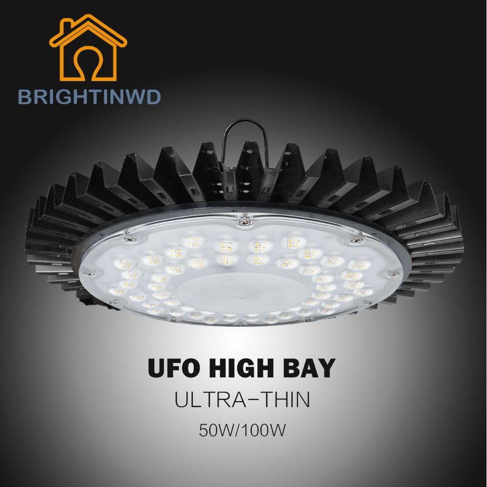 220V IP40 Ultra-thin UFO High Bay Light SMD2835 LED Chip 50W High Power Led Reflector Spotlight For Machine Lamp Garage Light