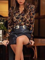 2019 Women Elegant Fashion Work Office Stylish Blouse Female Eye-Catching Top Chain Print V-Neck Casual Shirt Blouses