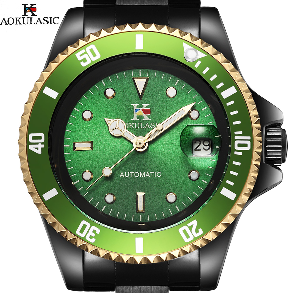 Aokulasic hombres relojes auto fecha Top marca de lujo deportivo reloj mecánico automático ejército Militar relojes Relogio Masculino