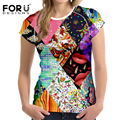 FORUDESIGNS New Patchwork T Shirt Women's T-shirts Tops Pretty Design Sexy Pattern Woman Tee Shirts For Ladies Camisas Femininas