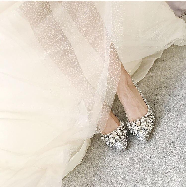 Chaussures Bout De As Parti Picture Mariage Le Pompes À Diamants Bateau Libèrent Talons Femmes Pointu Mince Siliver Cristaux Mode Strass Talon Pour Y5pZqcF