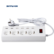 Multi 4 way Europeia Power strip surge protector 6 porta USB estação de carregamento soquete da extensão com USB DA UE para iphone ipad samsun