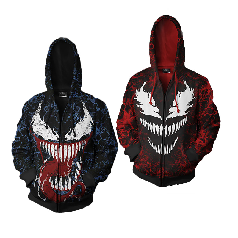 Venom Spiderman Cosplay Costumes Venom Symbiote Cosplay 3D Printed zip Sweatshirt Ffashion Cartoon Hooded Casual Sweater Jackets