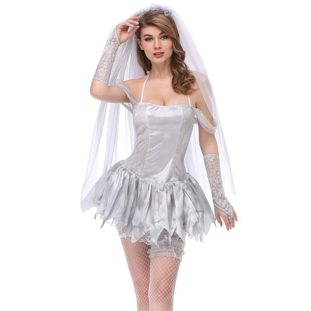 White Adult Cosplay Gothic Sexy Ghost Bride Costume