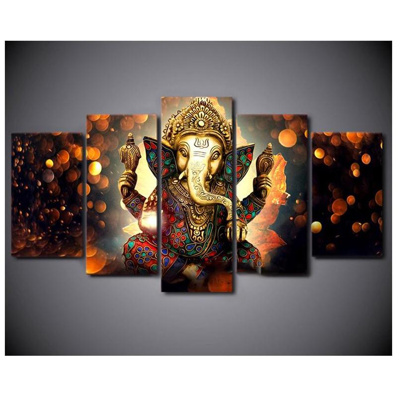 Kit de point de croix peinture diamant broderie diamant mosaïque décor hindou dieu Ganesha éléphant 5 pièces