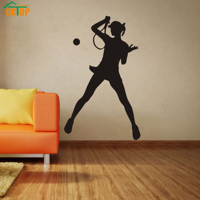 Girl Playing Tennis Wall Stickers For Kids Rooms Bedrooms vinyl Removable Waterproof Decals Black Mural Poster & Girl Playing Tennis Wall Stickers For Kids Rooms Bedrooms vinyl ...